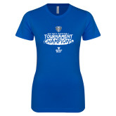 Next Level Ladies SoftStyle Junior Fitted Royal Tee-2018 Mens Basketball Champions - Brush