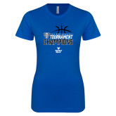 Next Level Ladies SoftStyle Junior Fitted Royal Tee-2018 Mens Basketball Champions - Stacked