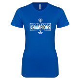 Next Level Ladies SoftStyle Junior Fitted Royal Tee-2018 Mens Basketball Champions - Box