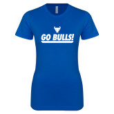 Next Level Ladies SoftStyle Junior Fitted Royal Tee-Go Bulls