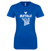 Next Level Ladies SoftStyle Junior Fitted Royal Tee-Bufallo Basketball w/ Hanging Net