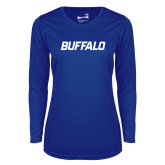 Ladies Syntrel Performance Royal Longsleeve Shirt-Buffalo Word Mark