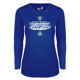 Ladies Syntrel Performance Royal Longsleeve Shirt-2018 Mens Basketball Champions - Brush