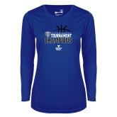 Ladies Syntrel Performance Royal Longsleeve Shirt-2018 Mens Basketball Champions - Stacked