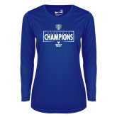 Ladies Syntrel Performance Royal Longsleeve Shirt-2018 Mens Basketball Champions - Box