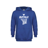 Youth Royal Fleece Hoodie-Bufallo Basketball w/ Hanging Net