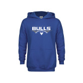 Youth Royal Fleece Hoodie-Bulls Football Horizontal w/ Ball