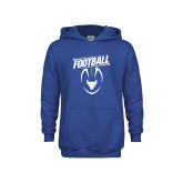 Youth Royal Fleece Hoodie-Bulls Football Vertical w/ Ball