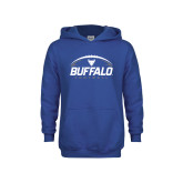 Youth Royal Fleece Hoodie-Buffalo Football Under Ball
