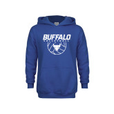 Youth Royal Fleece Hoodie-Buffalo Volleyball Stacked w/ Ball