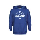 Youth Royal Fleece Hoodie-Buffalo Volleyball Stacked Under Ball