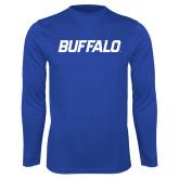 Syntrel Performance Royal Longsleeve Shirt-Buffalo Word Mark