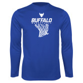 Performance Royal Longsleeve Shirt-Bufallo Basketball w/ Hanging Net