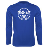 Performance Royal Longsleeve Shirt-Bulls Basketball Arched w/ Ball