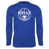 Syntrel Performance Royal Longsleeve Shirt-Bulls Basketball Arched w/ Ball