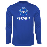Performance Royal Longsleeve Shirt-Buffalo Soccer Geometric Ball