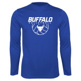 Performance Royal Longsleeve Shirt-Buffalo Volleyball Stacked w/ Ball