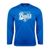Syntrel Performance Royal Longsleeve Shirt-Bulls Baseball Script w/ Plate