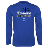 Performance Royal Longsleeve Shirt-2018 Mens Basketball Champions - Stacked