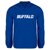 V Neck Royal Raglan Windshirt-Buffalo Word Mark