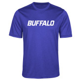 Performance Royal Heather Contender Tee-Buffalo Word Mark