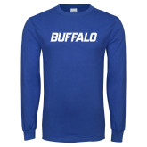 Royal Long Sleeve T Shirt-Buffalo Word Mark