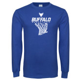 Royal Long Sleeve T Shirt-Bufallo Basketball w/ Hanging Net