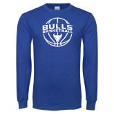 Royal Long Sleeve T Shirt-Bulls Basketball Arched w/ Ball