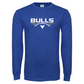 Royal Long Sleeve T Shirt-Bulls Football Horizontal w/ Ball
