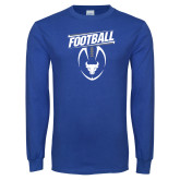 Royal Long Sleeve T Shirt-Bulls Football Vertical w/ Ball