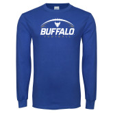 Royal Long Sleeve T Shirt-Buffalo Football Under Ball