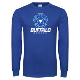 Royal Long Sleeve T Shirt-Buffalo Soccer Geometric Ball
