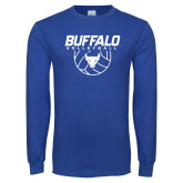 Royal Long Sleeve T Shirt-Buffalo Volleyball Stacked w/ Ball