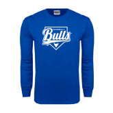 Royal Long Sleeve T Shirt-Bulls Baseball Script w/ Plate