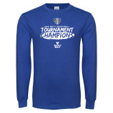 Royal Long Sleeve T Shirt-2018 Mens Basketball Champions - Brush