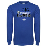 Royal Long Sleeve T Shirt-2018 Mens Basketball Champions - Stacked