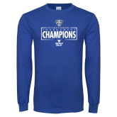 Royal Long Sleeve T Shirt-2018 Mens Basketball Champions - Box