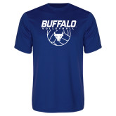 Performance Royal Tee-Buffalo Volleyball Stacked w/ Ball