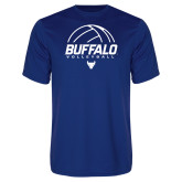 Performance Royal Tee-Buffalo Volleyball Stacked Under Ball