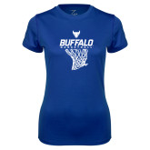 Ladies Syntrel Performance Royal Tee-Bufallo Basketball w/ Hanging Net
