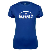 Ladies Syntrel Performance Royal Tee-Buffalo Football Under Ball
