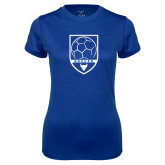 Ladies Syntrel Performance Royal Tee-Buffalo Soccer Shield