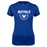 Ladies Syntrel Performance Royal Tee-Buffalo Volleyball Stacked w/ Ball