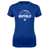 Ladies Syntrel Performance Royal Tee-Buffalo Volleyball Stacked Under Ball