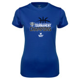 Ladies Syntrel Performance Royal Tee-2018 Mens Basketball Champions - Stacked