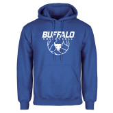 Royal Fleece Hoodie-Buffalo Volleyball Stacked w/ Ball