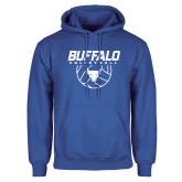 Royal Fleece Hoodie-Buffalo Volleyball Stacked w/ Ball