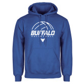 Royal Fleece Hoodie-Buffalo Volleyball Stacked Under Ball