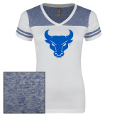 Ladies White/Heathered Deep Royal Juniors Varsity V Neck Tee-Bull Spirit Mark