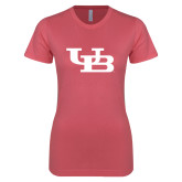 Next Level Ladies SoftStyle Junior Fitted Pink Tee-Interlocking UB